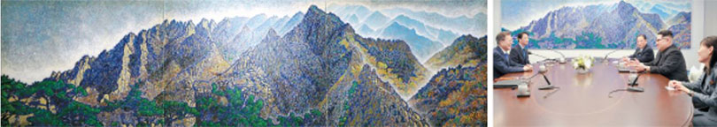 The 7-meter (23-foot) painting that depicts Mount Kumgang in North Korea, hanging in the meeting room, is a work by South Korean artist Shin Jang-sik. photo by JOINT PRESS CORPS