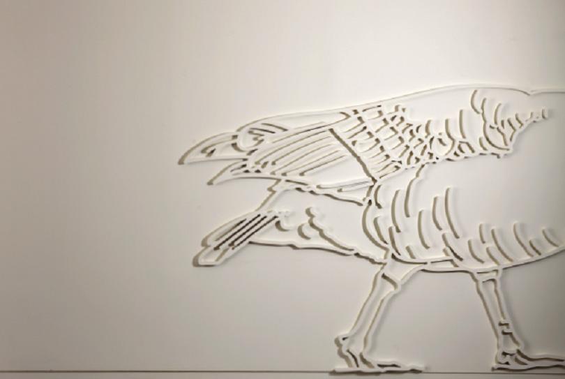 Kim Minae, 〈Girogi〉 (partial image), 2018. paint on polystyrene and rubber, sound, moving light, 300 × 4,000 × 3 cm. Sound designed by Woo Morceau J. ⓒFondation d'entreprise Hermès, Photoⓒ Nam Kiyong
