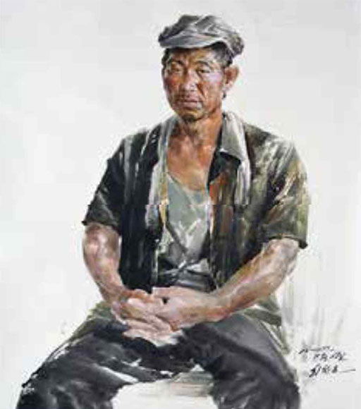 Choe Chang Ho, 〈A Worker〉, 2014. Chosonhwa, 98x70cm ⒸChoe Chang Ho Selected by B.G. Muhn