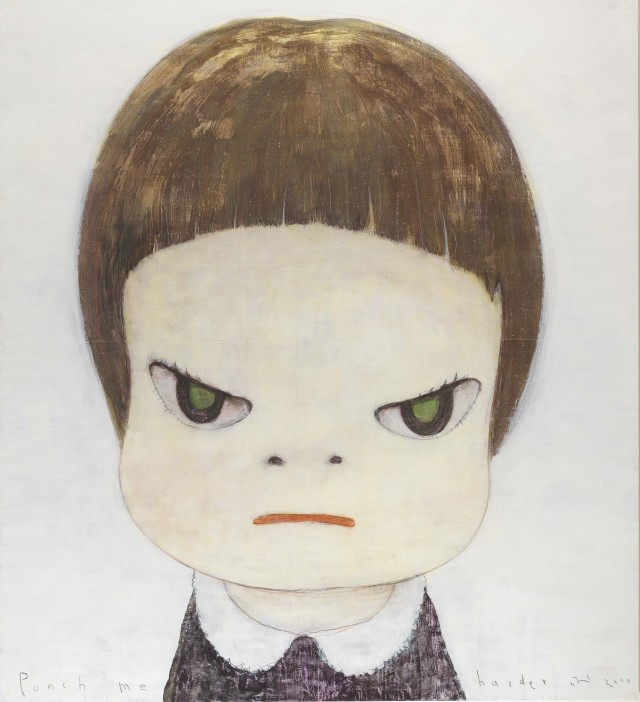 Yoshitomo Nara, 'Punch Me Harder', 2000, acrylic and coloured pencil on paper, mounted on canvas. Image courtesy Christie's Images Ltd.