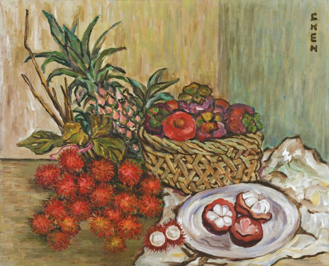 Georgette Chen, 'Still Life with Rambutans, Mangosteens and Pineapple', 1960s, oil on canvas. Image courtesy Christie's Images Ltd.