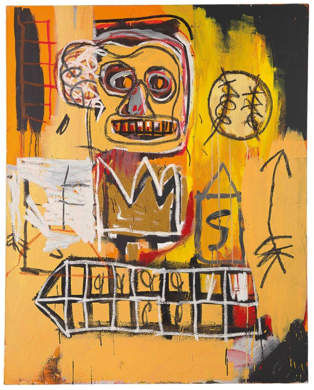 Jean-Michel Basquiat, 'Untitled (orange sports figure), 1982, acrylic, oil stick and spray paint on canvas. Image courtesy Christie's Images Ltd.