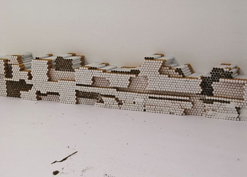 Untitled, Mixed media, Dimensions variable, Installation view of 3355 at Secession, Vienna, 2002. The artist spent 24 hours at a gallery venue, during which time she rearranged hundreds of cigarettes separated from their packs.