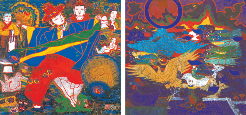 "Park Saeng Kwang's paintings ""Shaman 12""(1984), left, and ""Sunset""(1979) are part of his retrospective at the Daegu Art Museum, which runs until Oct. 20. [DAEGU ART MUSEUM]"