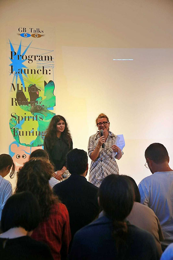 Defne Ayas (right) and Natasha Ginwala, co-directors of the 13th Gwangju Biennale speak during the event's first official program, at an art studio in Gwangju on Tuesday. (Gwangju Biennale Foundation)
