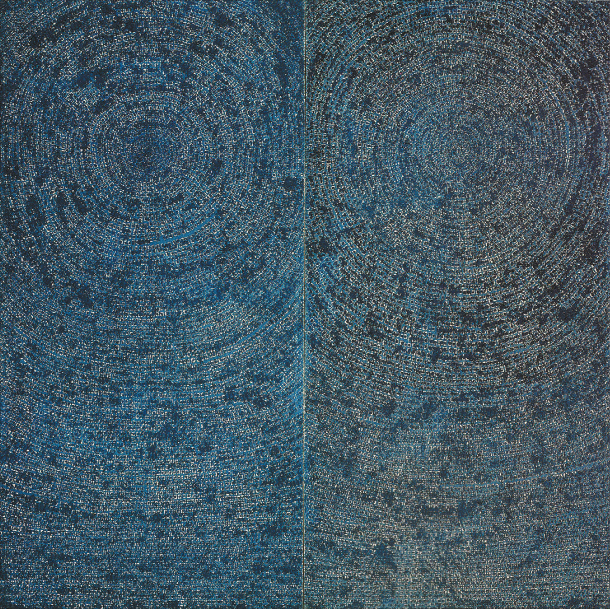 "The biggest painting by Kim Whanki (1913-1974), the ""05-IV-71 #200 (Universe)"" (1971) went on sale for the first time on Saturday at Christie's Hong Kong Autumn Sale. It is the only diptych - a two-piece work - by the artist. (WHANKI FOUNDATION)"