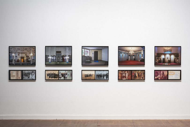 Installation view of CHE ONEJOON's 〈History of Face〉, 2019, a series of 16 photographs in inkjet print, dimensions variable, at 《Gohyang: Home》, Seoul Museum of Art, 2019–20. Courtesy Seoul Museum of Art.