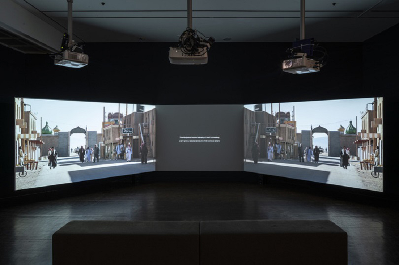 Installation view of MINHA PARK's 〈Discourse on Twin Mirrors〉, 2019, three-channel video with stereo sound: 11 min 30 sec, at 《Gohyang: Home》, Seoul Museum of Art, 2019–20. Courtesy Seoul Museum of Art.