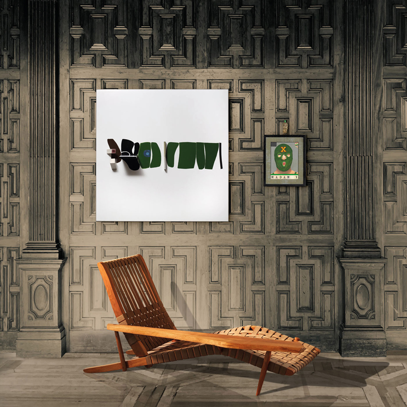 Victor Pasmore (1908-1998), Points of Contact, Green Development, 1966, Marlborough Gallery, Sir Peter Blake (b. 1932), Madame X, 2002, George Nakashima (1905-1990), Lounge Chair, United States, 1960, MORENTZ. From the Eye Viewing Room at eyeofthecollector.com, 12-31 May 2020. Image Provided by Eye of the Collector