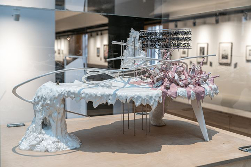 Lee Bul, maquette for 'Mon grand récit' (2005). Plaster, steel mesh, wood, silicone, paint, crystal and synthetic beads, aluminium rods, stainless steel wire, foamex. 62.8 x 121.8 x 102.8 cm including wooden base panel. Exhibition view: Utopia Saved, Manege Central Exhibition Hall, St. Petersburg (13 November 2020–31 January 2021). Courtesy Manege Central Exhibition Hall. Photo: Vasily Bulanov.