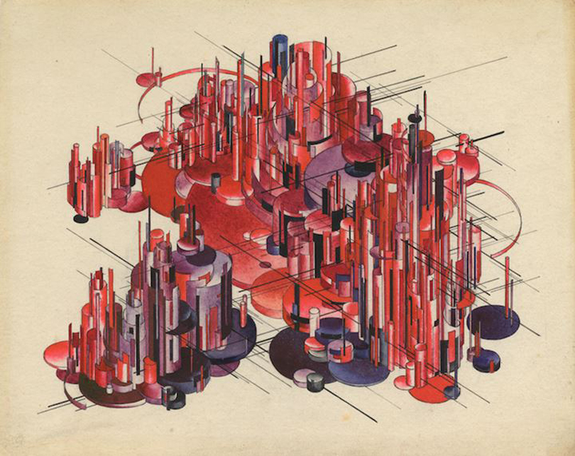 Iakov Chernikhov (1889–1951), Composition No. 152: 'Factory/City', from the series 'Foundations of Contemporary Architecture' (1925–1929). Gouache, pencil, and India ink on paper. Courtesy Iakov Chernikhov International Charitable Architectural Foundation.